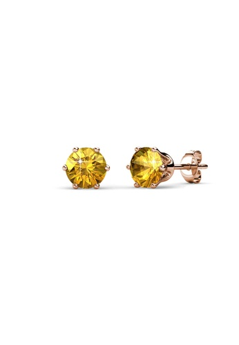 Her Jewellery yellow and gold Birth Stone Earrings (November, Rose Gold) - Made with premium grade crystals from Austria FC6E0ACDAA290EGS_1