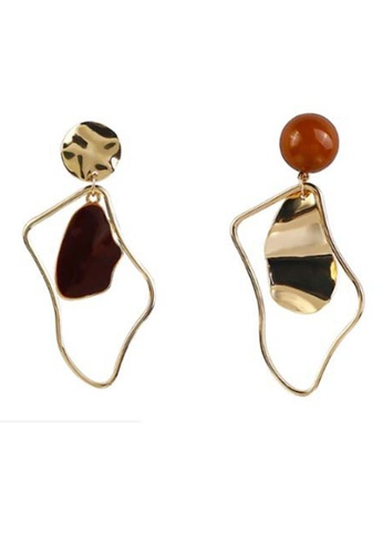 Sunnydaysweety gold Irregular Ring and Slice Drop Earrings CA030213 BE1D5ACB529B99GS_1