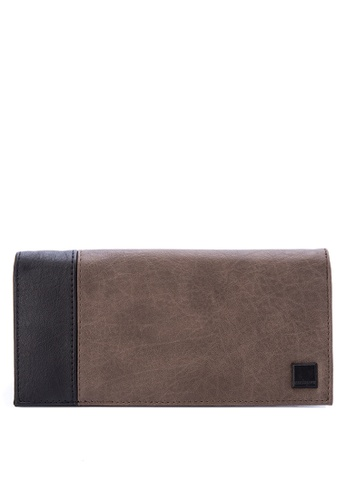 Penshoppe brown Synthetic Leather Long Wallet 078D4AC14EB957GS_1