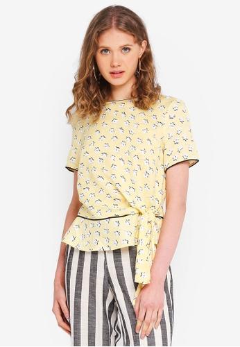 ESPRIT yellow 3/4 Woven Sleeve Blouse 10FE3AA591B54BGS_1