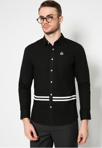 Johnwin black Slim Fit - Kemeja Casual - Lengan Panjang - Hitam - Motif Polos dengan Garis 1A9FEAA8C79794GS_1