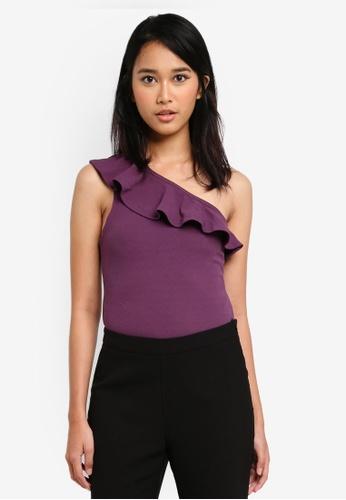 MISSGUIDED purple Frill One Shoulder Bodysuit 459D4AA46E3C76GS_1