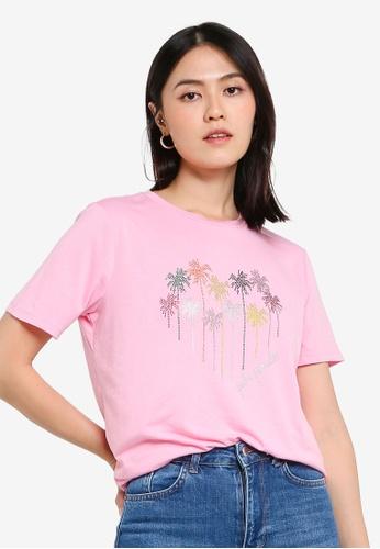 KOTON pink Palm Paradise T-Shirt F4D04AAB05D69EGS_1
