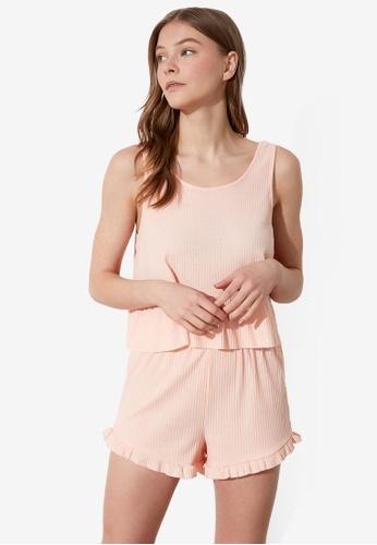 Trendyol 粉紅色 褶飾無袖 睡衣組 F1754AA389F929GS_1