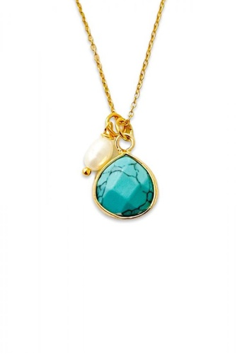 Trinkets for Keeps gold Faceted Turquoise Stone Necklace FF736AC99210A8GS_1