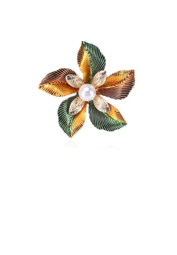 Glamorousky white Fashion and Elegant Plated Gold Flower Imitation Pearl Brooch 4D108ACD6F14C9GS_1