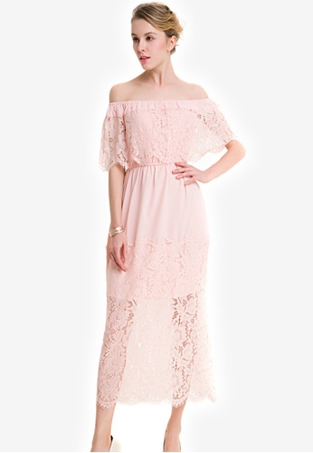 004120aa4212 Sunnydaysweety pink Lace Off Shoulder Short Sleeves One Piece Dress  SU042AA0KCIWPH 1