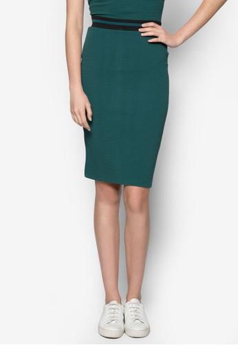 羅紋彈性及膝短裙zalora時尚購物網的koumi koumi, 服飾, 及膝裙