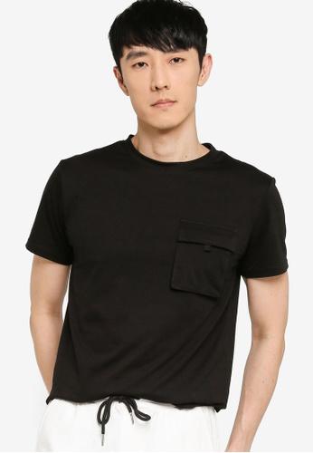 ZALORA BASICS black Uno Pocket Utility T-Shirt DC959AA569F227GS_1