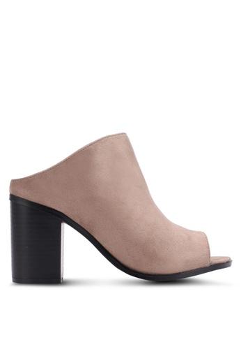 Something Borrowed brown Suede Block Heel Mules 2E937SH7ACD281GS_1