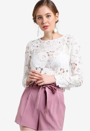 Miss Selfridge white Premium Lace Long Sleeve Crop Top MI665AA97YCGMY_1