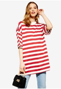 ec9f23359cfb2c TOPSHOP red Stripe Boyfriend T-Shirt 3F382AAFA12233GS 1