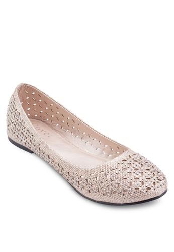 esprit tw閃面雕花平底鞋, 女鞋, 芭蕾平底鞋