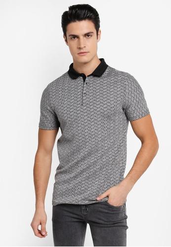 River Island grey Grey Jacquard Polo Shirt RI009AA0SRL1MY_1
