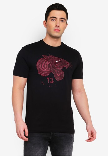 Only & Sons black Ent Tiger Embroidery Tee 33CBDAAB161F55GS_1