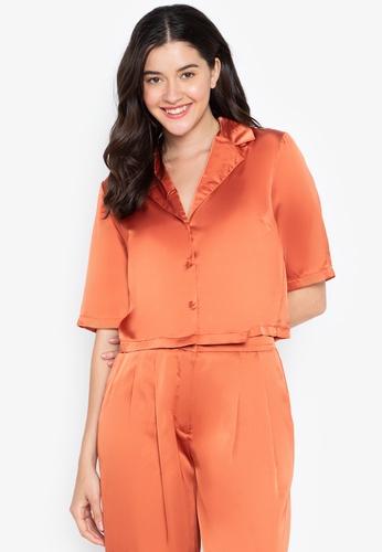 the___edit orange Dua Cuban Collar Satin Top A5CB6AA333BB96GS_1