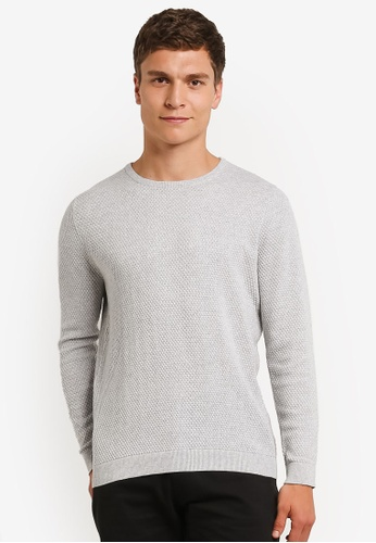 Burton Menswear London grey Grey Textured Crew Neck Jumper BU964AA0RM6SMY_1