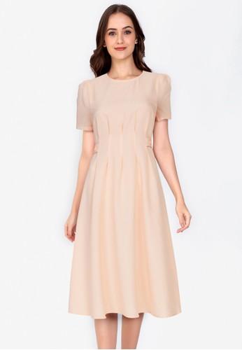 ZALORA WORK beige Side Button Short Sleeves Dress 39F03AADA5F339GS_1