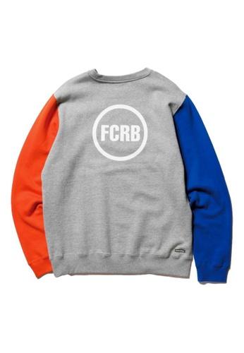 F.C.R.B grey COLOR BLOCK CREWNECK SWEA 66959AA0C5F383GS_1