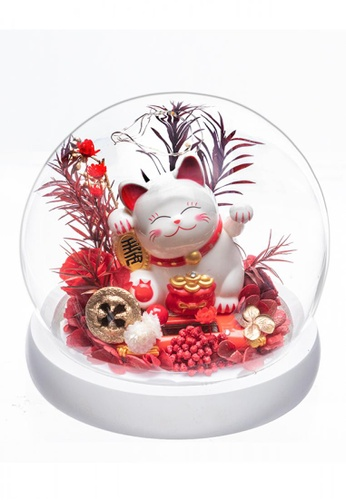 Her Jewellery white and red Everlasting Preserved Rose - Fortune Kitty BE724HLFD4654DGS_1