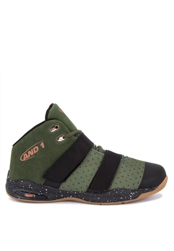 And1 green and multi Chosen One II Basketball Shoes A4D80SHB43DEEDGS_1