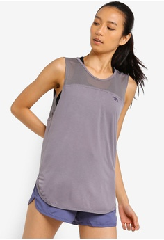 c7f47a51684e0 Running Bare grey Batter Up Crew Neck Tank Top With Curved Hem  EBF34AA714293BGS 1