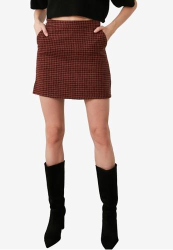 Trendyol orange Plaid Mini Skirt 1D4E7AA1B3AB5FGS_1