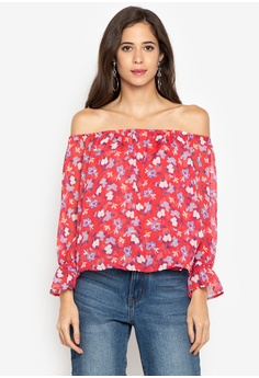 565a8f4bf8bee Twenteen red Crinkled Chiffon Off-Shoulder Floral Top CF956AA5DB3CE4GS 1