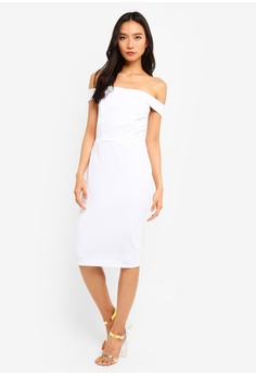 e3b7cfaf77 MISSGUIDED white Scuba Bardot Midi Bodycon Dress 914E8AA54E94DDGS 1