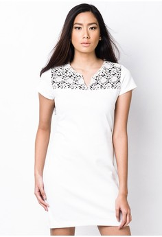 Dress with Lace Panel