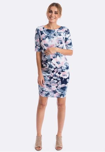 Maive & Bo blue Luella Maternity Dress in Aquarelle DF5C4AA65C2768GS_1