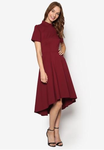 不對稱傘狀裙擺高領洋裝, 服esprit 台中飾, 洋裝