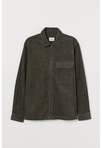 H&M green Corduroy shirt jacket 4AEDBAAABFC7A9GS_1