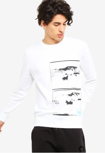 2b62c524ba206c Calvin Klein white Andy Warhol Landscape Regular Crew Neck Sweatshirt  2B4F2AA0CC9B8DGS 1