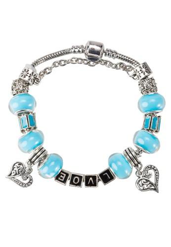 藍水晶抽象銀飾手鐲, 飾品配esprit香港門市件, 手鐲 & 手環