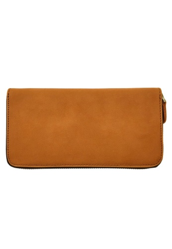 LUXORA brown and orange The Ninja Co. Top Grain Leather Long Zip Wallet Coin Card Purse Brown 66A5FAC73DDB02GS_1