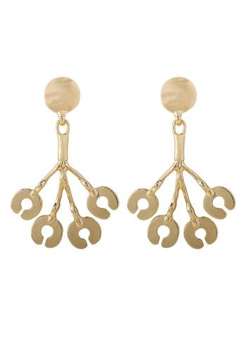 A-Excellence gold Asymmetric Burst Golden Texture Earrings 682C0AC6698CD1GS_1