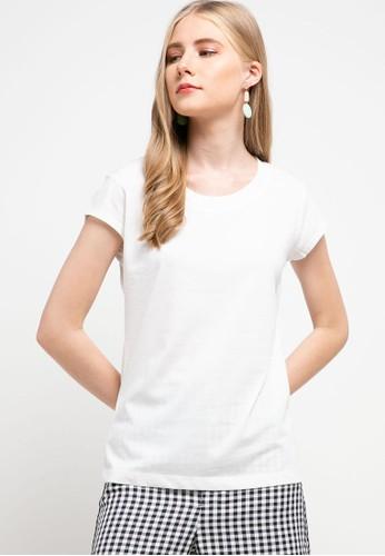 Tolliver white Basic Half Scoop Neck T-Shirt 257BCAAD3D8830GS_1
