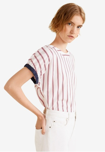 Mango white Striped Satin Blouse B67DFAAC95545FGS_1