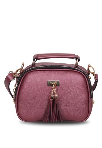 Quincy Label multi Sling Bag Tassel Selempang Maroon- Quincylabel D0028ACA52498FGS_1
