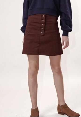 OUTSTANDING ORDINARY brown Gram Mini Skirt OU203AA0GIZSSG_1