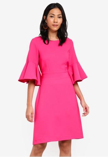 CLOSET pink Tie Back Ruffle Dress B2563AA9FCC0A2GS_1