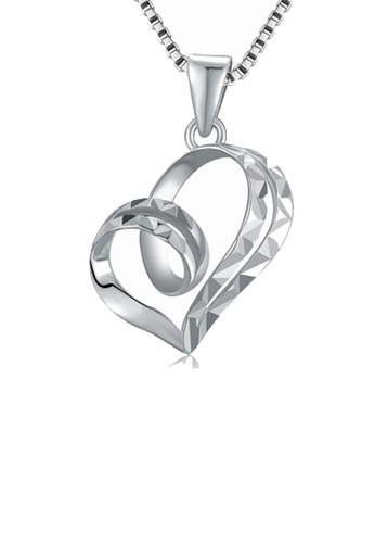 MaBelle silver 14K/585 White Color Gold Hearts Pendant Necklace 31970AC7AAC259GS_1