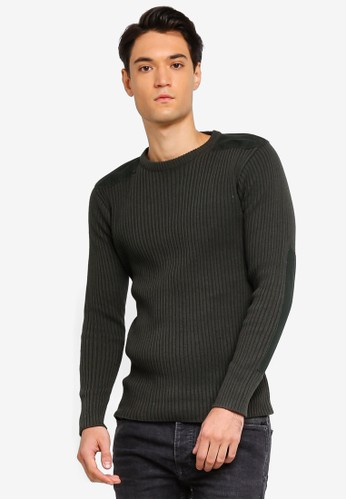 Brave Soul green Shoulder And Elbow Patch Jumper CA0EAAAD4FA421GS_1