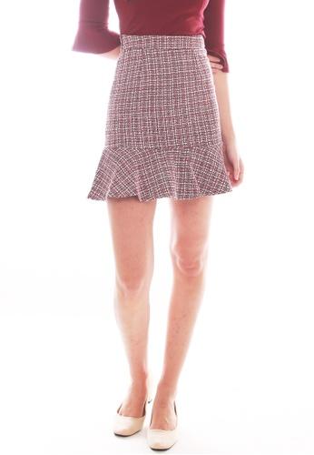 JOVET red Tweed Skirt B8349AA694271CGS_1