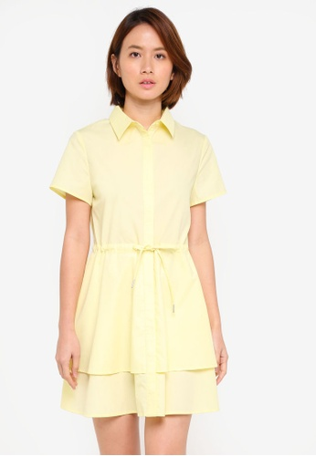 ZALORA yellow Short Sleeve Layered Shirt Dress AF1AEAAC8D3929GS_1