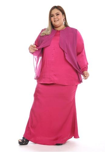Manja Modern Kurung from PLUMERIA in Red and Purple