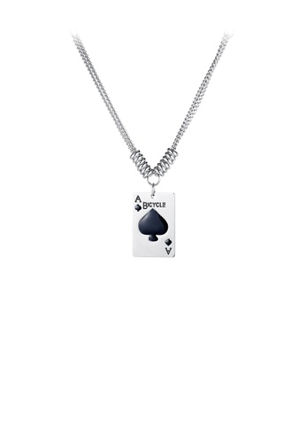 Glamorousky silver Fashion Creative Playing Cards A 316L Stainless Steel Pendant with Necklace 52571AC8471571GS_1