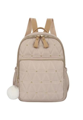 Lara beige Women's Triangles Embossed Oxford Cloth Zipper Backpack - Champaign EC266AC17A3095GS_1