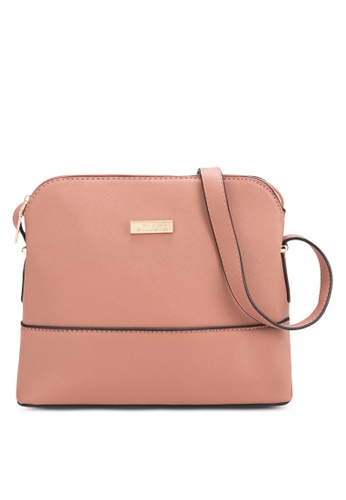 Unisa pink Unisa Saffiano Texture Shell Shape Mini Sling Bag UN821AC95BOYMY_1